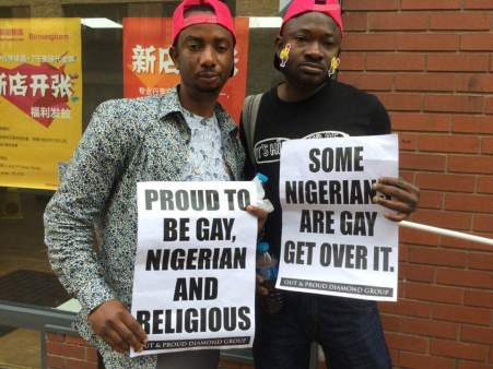 Nigerian members of Out and Proud Diamond Group had messages for Birmingham Pride. (Photo courtesy of OPDG)