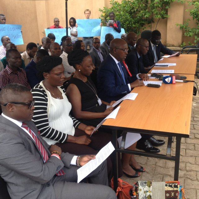 Press conference on May 23 denounces break-ins targeting human rights organizations in Uganda. (Photo courtesy of Hassan Shire via Twitter)