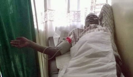 Joe Odero in the hospital after the attack.