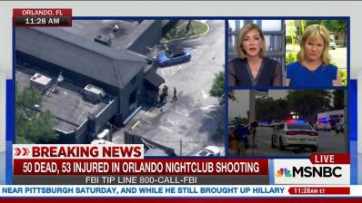 TV news coverage of Florida massacre of June 12, 2016.