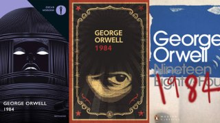 Italian, Spanish and British covers for George Orwell's classic novel 1984.