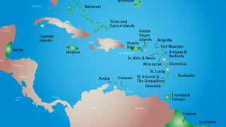 Map of the Caribbean shows Guyana at lower right and Jamaica at center left. (Map courtesy of Caribbean Association of Pharmacists)