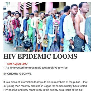 Sensational and ill-informed article in Nigeria's The Sun predicted an HIV epidemic after the release on bail of 40 allegedly gay young men who were arrested during an HIV awareness event in Lagos.