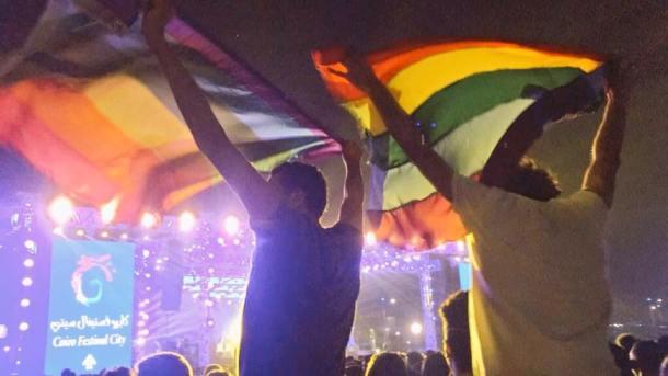 Rainbow flag at the Cairo concert on Sept. 21. (Photo courtesy of Rainbow Egypt via Facebook)
