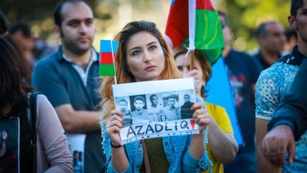 Cover photo of Human Rights Watch report for 2016 on Azerbaijan crackdown (at a time when the victims were critics of the regime).