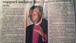 Page 1 article about Archbishop John Holder's speech.(Colin Stewart photo)
