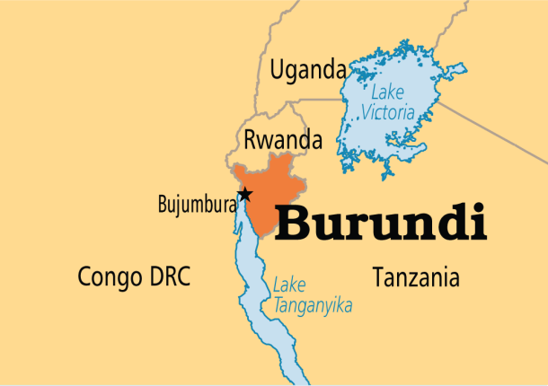 Map of Burundi and neighboring countries. (Map courtesy of Operation World)
