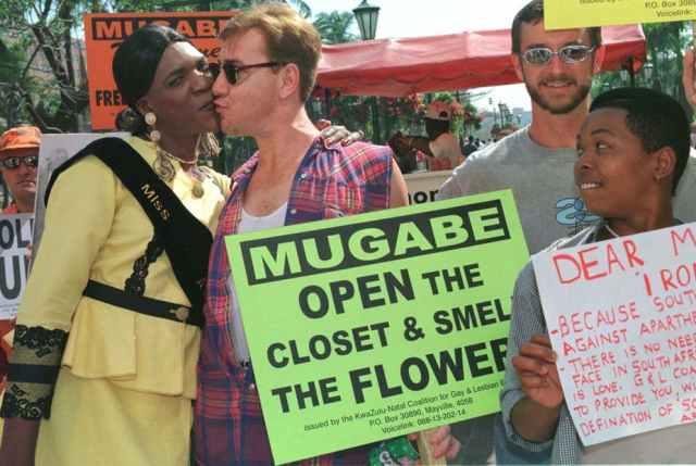 Protesting against Zimbabwe's homophobia. (Juda Ngwenya photo courtesy of Reuters and The Conversation)