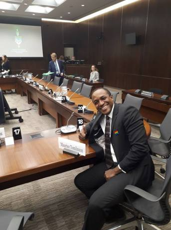 Jamaican-Canadian activist prepares for his appearance before the Canadian House of Commons' Standing Committee on Citizenship and Immigration. (Photo courtesy of Maurice Tomlinson)
