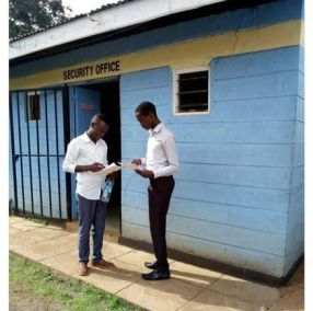 "Hivisasa published this photo of the Kisii University security office with its article ""Gay couple arrested."" There's no indication that the two young men in the photo are the two students who were arrested. (Photo courtesy of Hivisasa.com)"