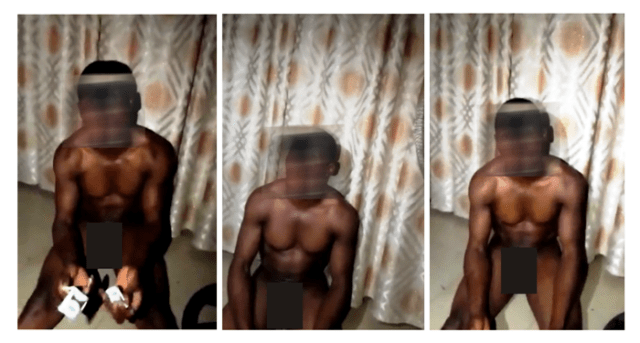 Screenshots from video of Nigerian pastor humiliated by homophobes. His face and genitals have been obscured in these images to spare him from further humiliation.