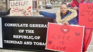 Protesters on April 11 make a stand in favor of LGBT rights at the Toronto office of the Consulate General of Trinidad and Tobago. (Photo courtesy of Maurice Tomlinson)