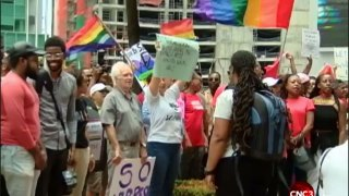 Protest against Trinidad's anti-sodomy law on April 9. Click the image to watch the video. (Photo courtesy of CBC3)