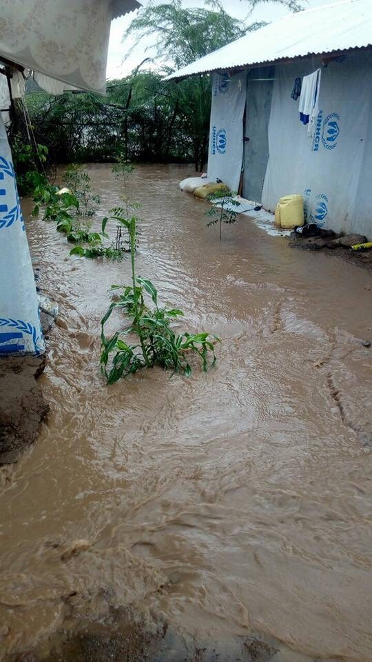 Flooding in the LGBTI section of Kakuma Camp in Kenya. (Photo courtesy of Moses Mbazira)
