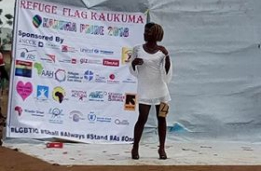 Trans model at Kakuma Pride. (Photo courtesy of Rainbow Flag Kakuma)