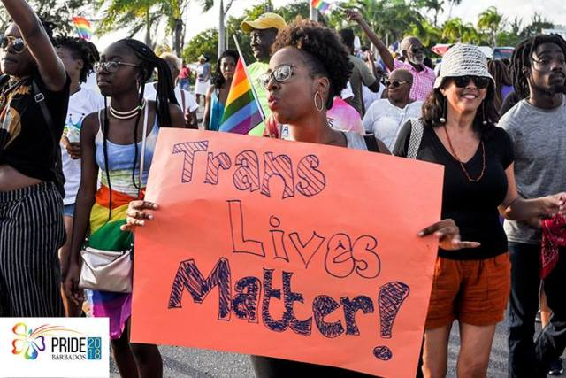 Scene from the 2018 Pride march in Bridgetown, Barbados. (Photo courtesy of Pride Barbados)