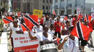 "TT Cause marchers in May 2018 declare: ""Keep the buggery law"" (Photo courtesy of Trinidad and Tobago Newsday)"