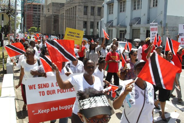 """TT Cause marchers in May 2018 declare: """"Keep the buggery law"""" (Photo courtesy of Trinidad and Tobago Newsday)"""