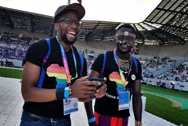 Kevin Mwachiro (left) and Kelvin Washiko at the Gay Games in Paris. (Cyd Zeigler photo courtesy of OutSports.com)