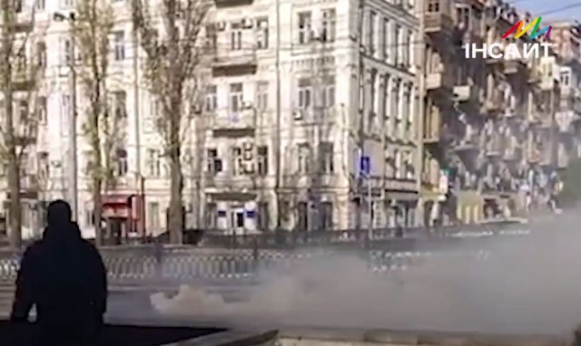 Right-wing protesters used smoke bombs to try to disrupt a trans rights demonstration in Kyiv, Ukraine, on Nov. 18. (Photo courtesy of Insight)