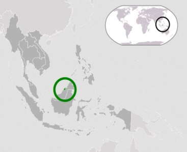 Location of Brunei on the island of Borneo in Southeast Asia (Map courtesy of Wikipedia)