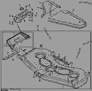 MOWER DECK AND DISCHARGE CHUTE (DECK SN M00072D) [5]  ATTACHMENT, MIDMOUNT ROTARY MOWER, MOWER
