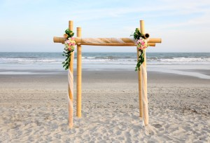 Bamboo wedding arch in Myrtle Beach