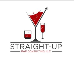 Interview-Straight-Up Bar Consulting. Image of logo with red martini, wine, and whiskey glasses.