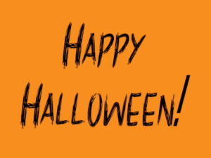 An orange Happy Halloween image with black scary font. A Brief History of Halloween.