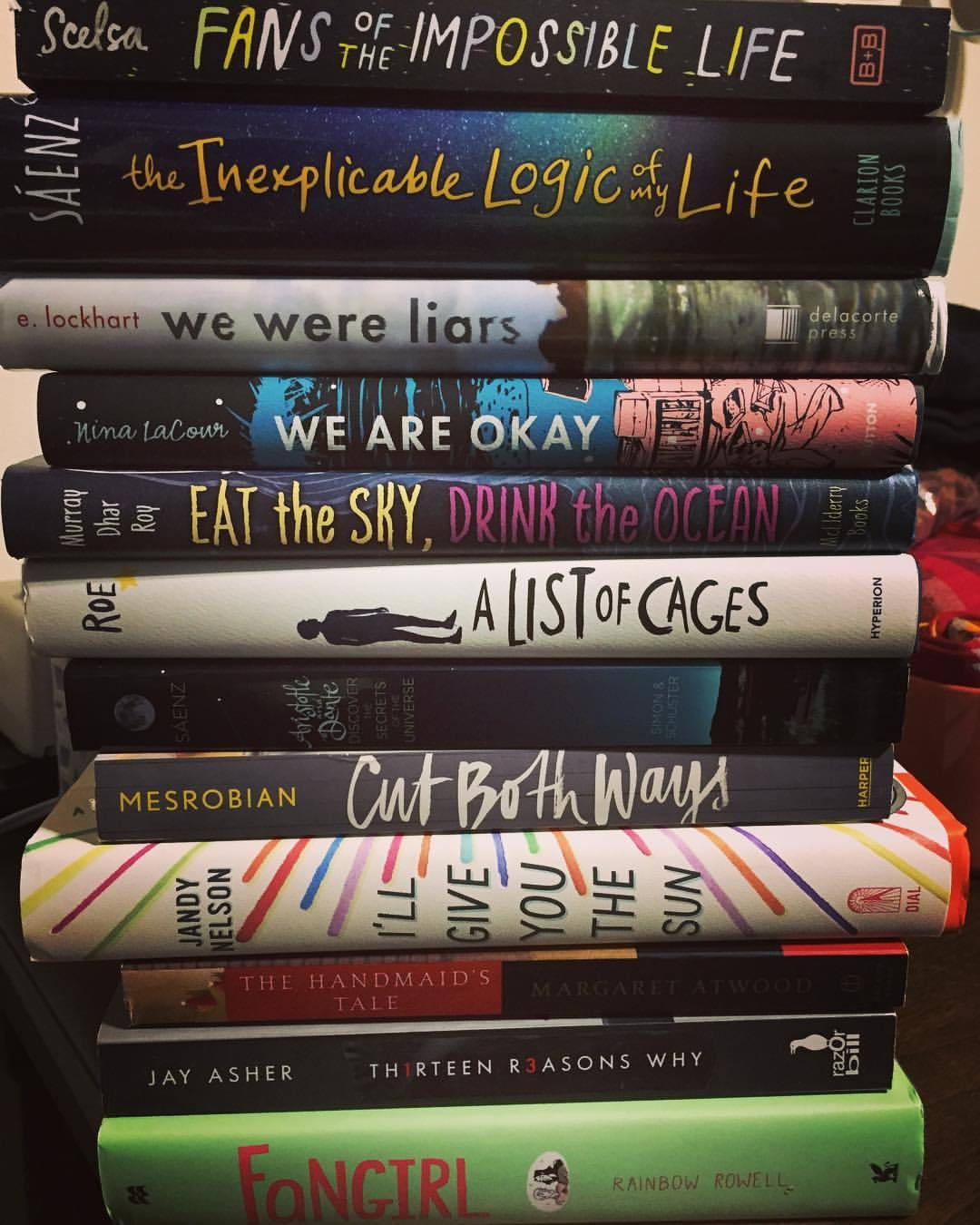 BOOK STACK. @3rinsimone arrived yesterday, and this was the first thing we did. 😍 #maryreads