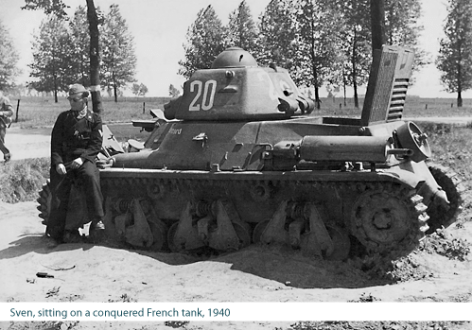 fall gelb   Tumblr Sven Hassel sitting on a captured French tank