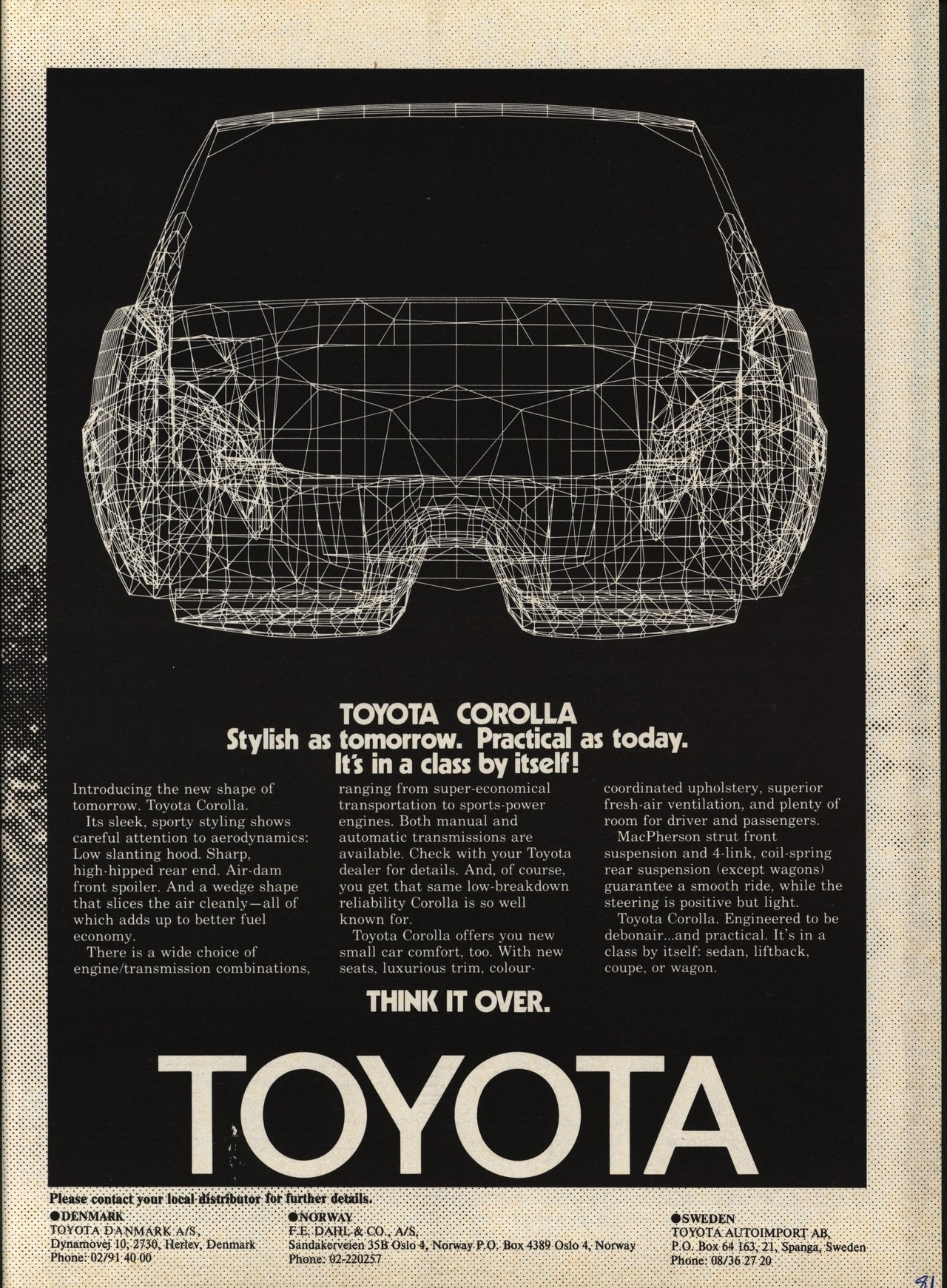 1981 Toyota Corolla Ad Featuring 3d Wireframe Vintage Cars Luggage Compartment Light Wiring Diagram For 1956 Studebaker Passenger Car