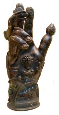 curiousmiscellanies:Bronze hand used in the worship of Sabazios (British Museum). Roman 1st-2nd century CE