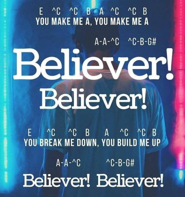 """028e9b89 noob-notes:http://bit.ly/2LTbe6P – Play along to """"Believer"""" by… – Funny"""