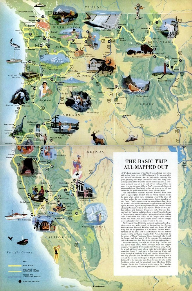Maptitude     A road trip map of the Pacific Northwest  1961 A road trip map of the Pacific Northwest  1961