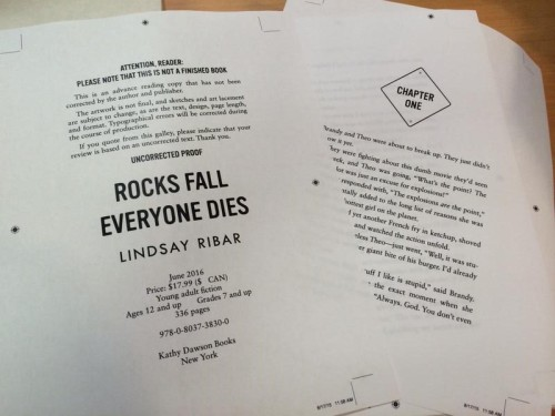 Guess who got her first pass pages for ROCKS FALL, EVERYONE DIES? This girl, that's who! Mark your calendars; this thing's coming out in ten months!