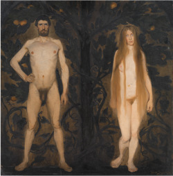 thunderstruck9:Harald Slott-Møller (Danish, 1864-1937), Adam and Eve, 1891. Oil on panel, 88.8 x 87.9 cm.via nationalgallery-dk