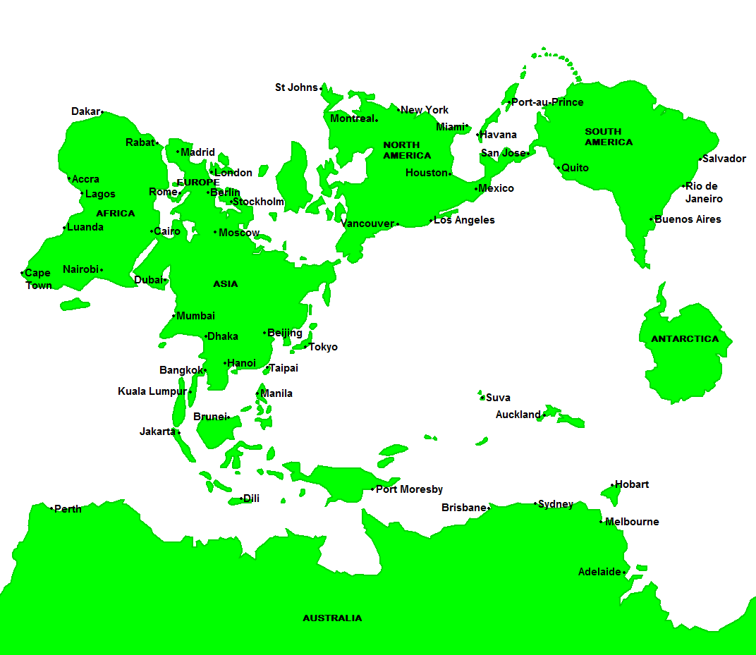 Mercator Map Of The World If The South Pole Was