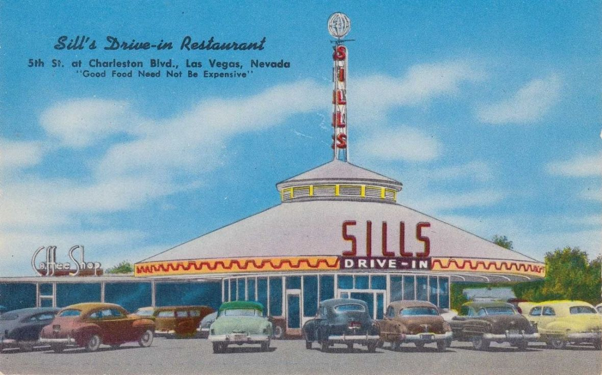 Sill's Drive-in Restaurant - 5th Street at Charleston Boulevard, Las Vegas, Nevada U.S.A. - 1950s