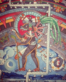 mexicaheart:  Xolotl, the Nagual or Spirit Animal of Quetzalcoatl, the Lord of Creation, descends through the thirteen layers of the heavens to enter the underworld. He holds the sun on his back, a dark, dead, nighttime sun, which he will lead through the perils of the night.