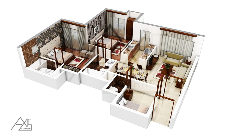 Axis Corner     If you are going to build your own house  then    If you are going to build your own house  then planning your house with 3D Floor  Plan Rendering you can get the best layout of your dream home