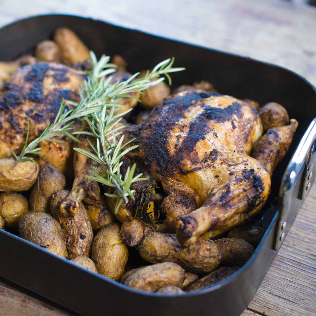 roasted potatoes and chicken.