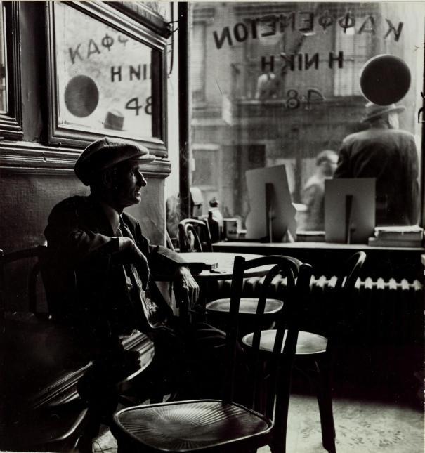 Rebecca Lepkoff Man Sitting In A Greek Café Photography
