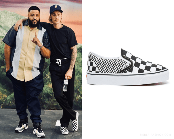 Vans Mix Checker Classic Slip On Shoes in Bla… – Justin Bieber