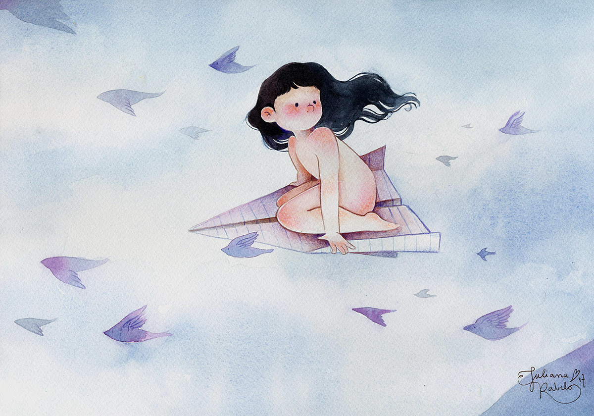 learning to fly. watercolour + coloured pencil + paper Juliana Rabelo © 2017. All rights reserved.