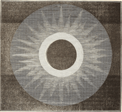 "nemfrog:Total solar eclipse, observed from Kinderhook, New York, June 16, 1808."" The wonders of the heavens. 1837.""A little before the illumination of the lunar disc, a zone was observed to issue, concentric with the sun, and an immense radiated glory, like a new creation, in a moment bursting on the sight, and for several minutes fixing the gaze of the man in silent amazement."""