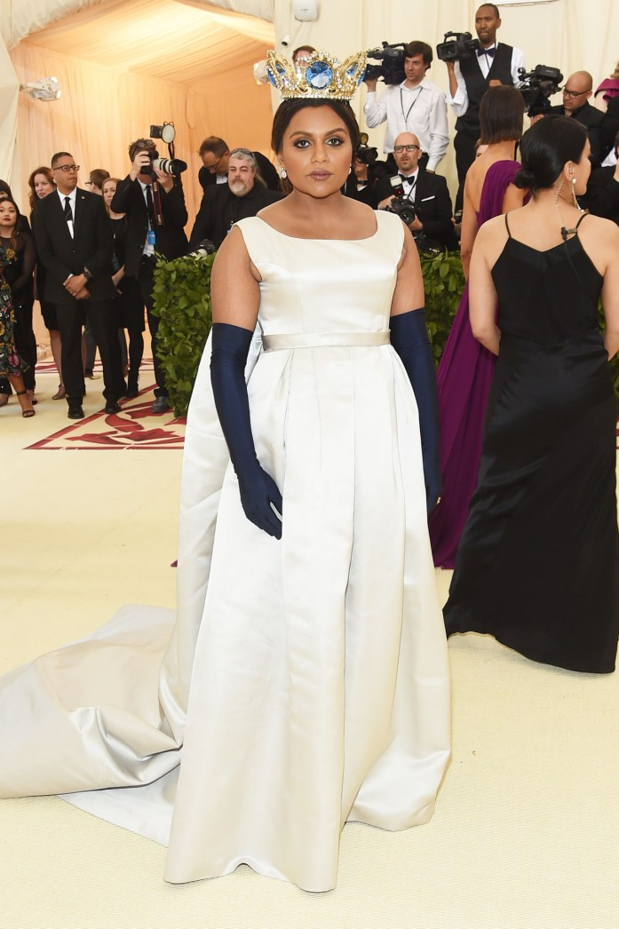 Mindy Kaling attends the Heavenly Bodies Costume Institute Gala at The Metropolitan Museum of Art on May 7, 2018