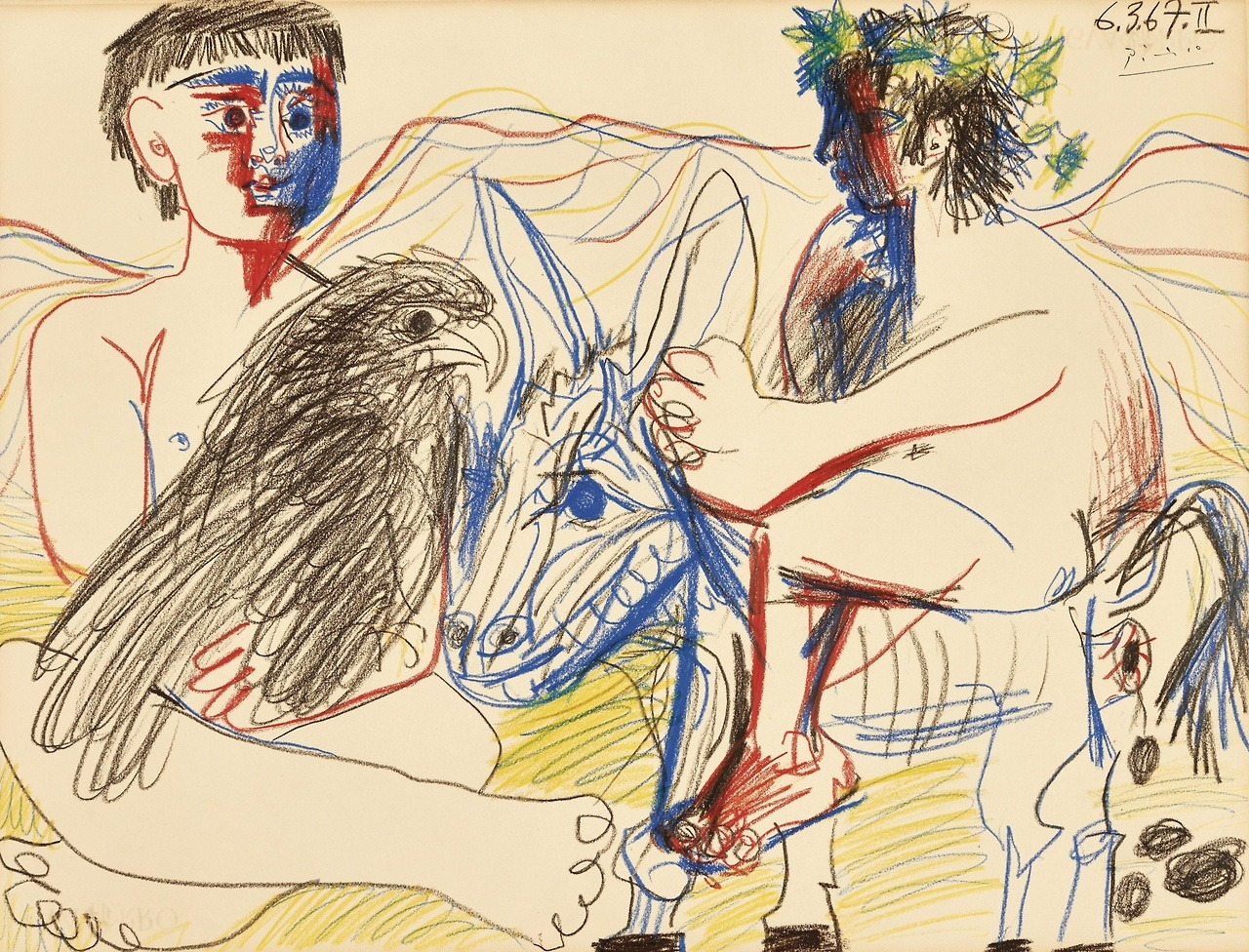 """atmospheric-minimalism: """"Pablo Picasso, Adolescents, aigle et âne II, 6-March/1967, Colored crayons on paper, 49,5 x 65 cm """""""