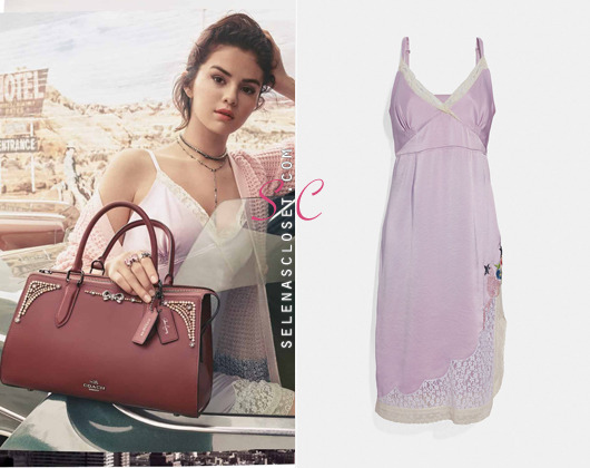 8f11cfde54776b Coach Selena Slip Dress in color pale lilac. Its available for  495.
