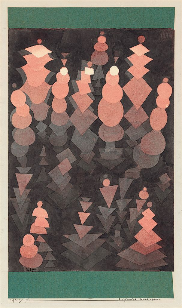 Paul Klee, Reifendes Wachstum, 1921. Watercolor over pencil on paper and collage. Sold by Christie's for $1,142,500.